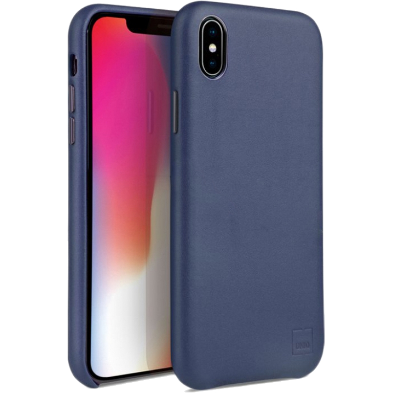 Чехол Uniq iPhone Xs Max Duffle Vale Genuine Leather синий