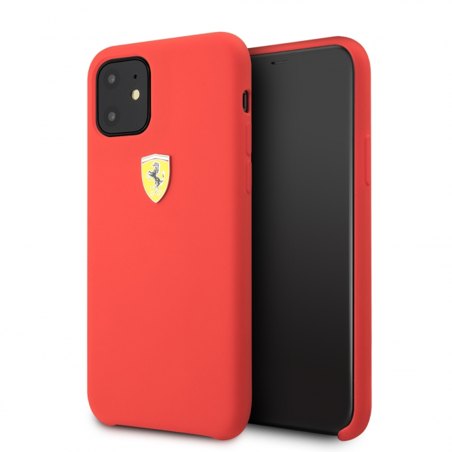Чехол Ferrari IPhone 11 SF SILICONE CASE Sheild logo красный